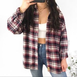 vintage red and white flannel